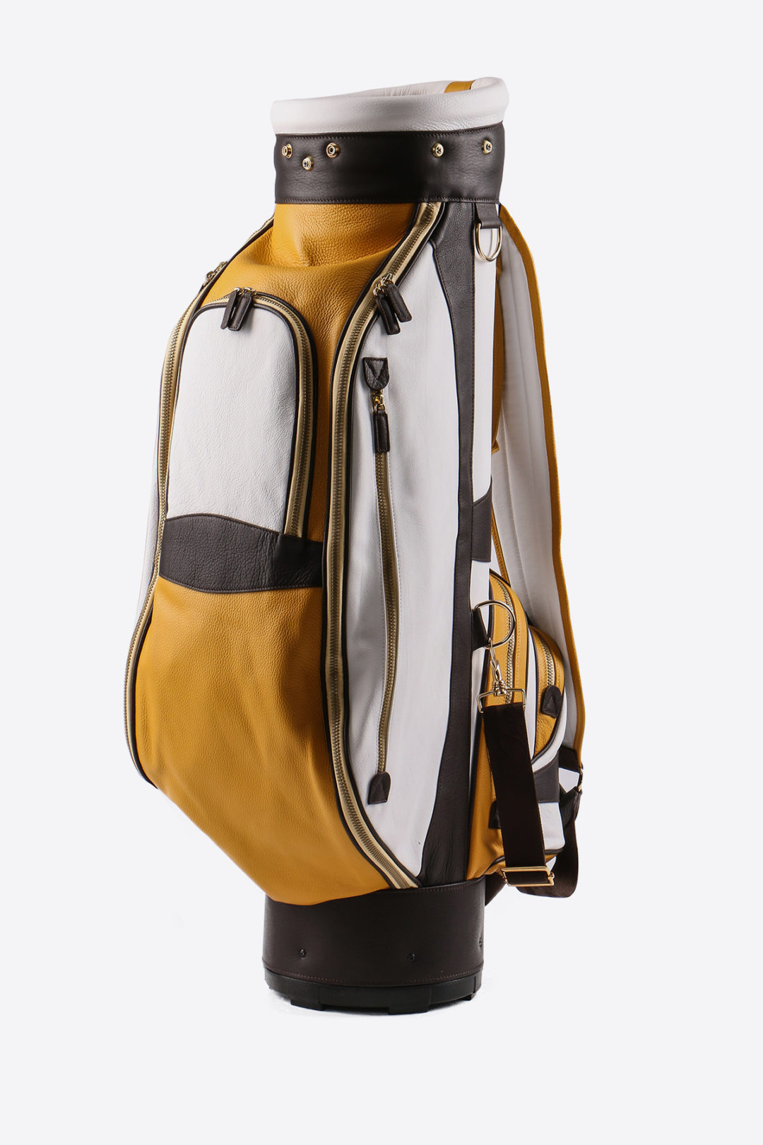 Imperial golf bag handmade in Italy with resistant and waterproof leather: main image, white yellow dark brown