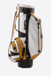 Imperial golf bag handmade in Italy with resistant and waterproof leather: side view white yellow dark brown