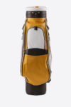 Imperial golf bag handmade in Italy with resistant and waterproof leather: front view white yellow dark brown