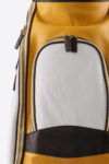 Imperial golf bag handmade in Italy with resistant and waterproof leather: leather and pocket detail white yellow dark brown