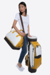 Imperial golf bag handmade in Italy with resistant and waterproof leather: sport golf set white yellow dark brown