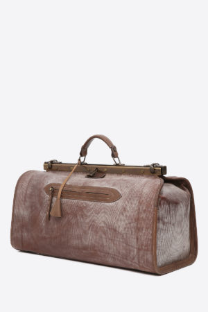 Doctor's Bag vegetable tanned leather handmade in italy terrida venezia italy italian bag unique design business travel leather duffle bag