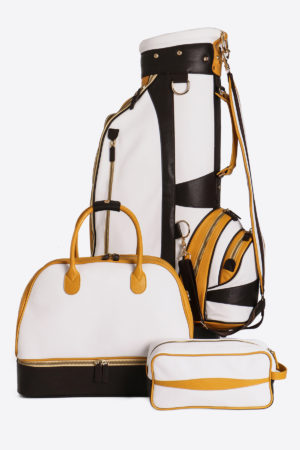Limited Edition Golf Set yellow white dark brown real waterproof leather sport handmade in italy