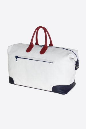 Antique Duffle Bag 038 front leather waterproof white blue red