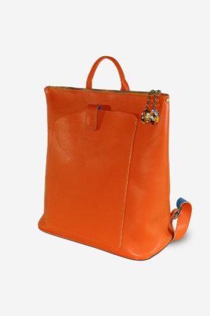 Venetian Backpack vegetable tanned leather handmade in italy murano glass pendant