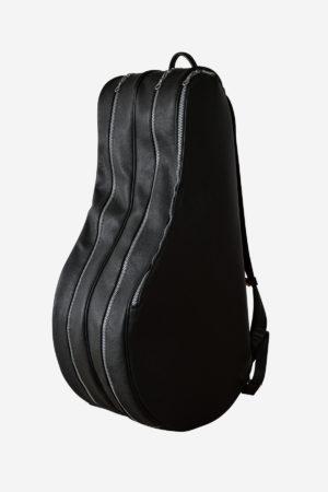 Wide Backpack Tennis Bag black leather waterproof handmade in italy