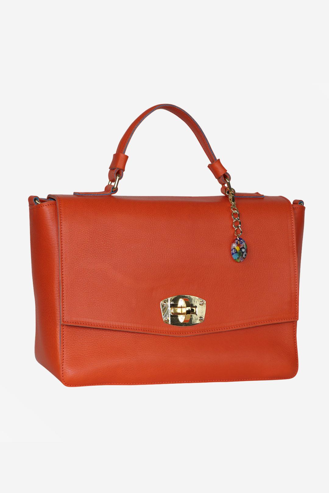 Elegant Handbag handmade in italy vegetable tanned leather murano glass terrida venezia