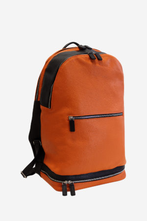 Modern Backpack orange black leather waterproof resistant