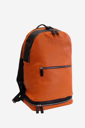 Modern Backpack orange black leather waterproof resistant