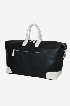 Sport Duffle Bag 038 black white waterproof leather handmade in italy
