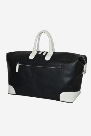 Sport Duffle Bag 038 black white waterproof leather handmade in italy