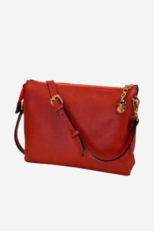 Mediterranean Handbag handbag crossbodybag handmade in italy vegetable tanned leather murano glass pendant