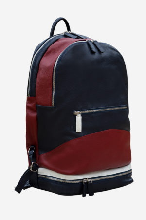 Sport Backpack front red blue white waterproof leather