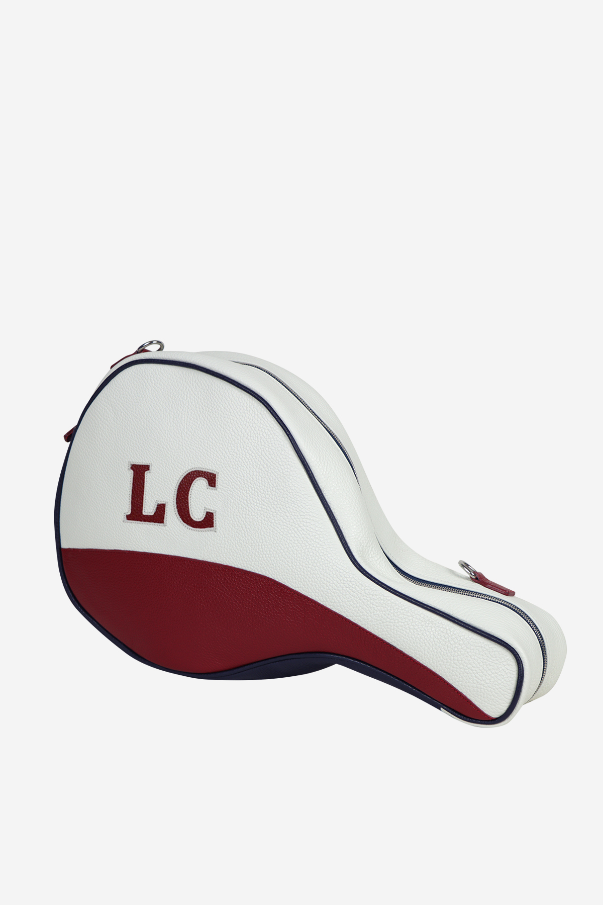 Original Padel Bag front side waterproof leather white red blue