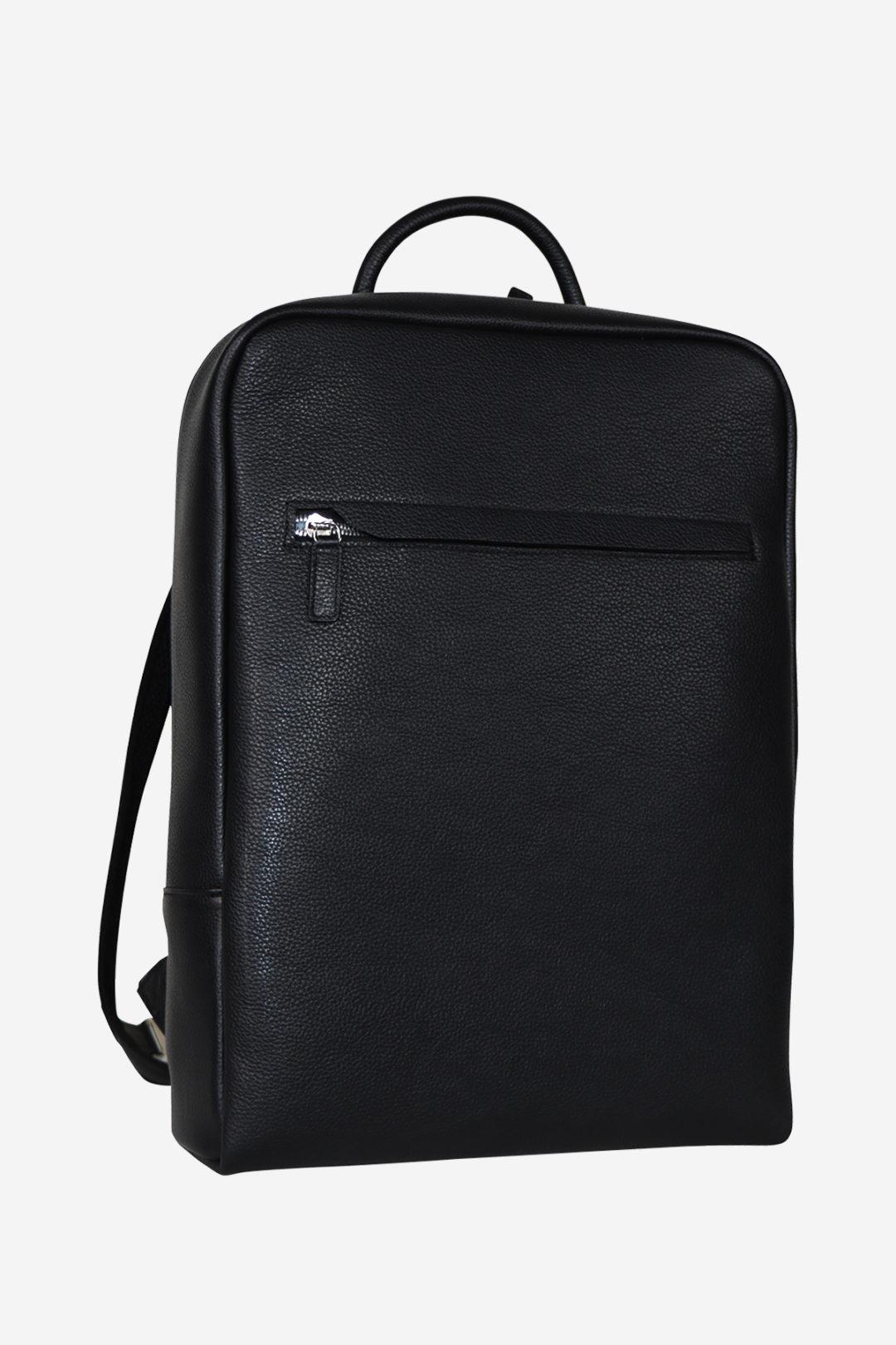 Sinuous Laptop Backpack black waterproof leather