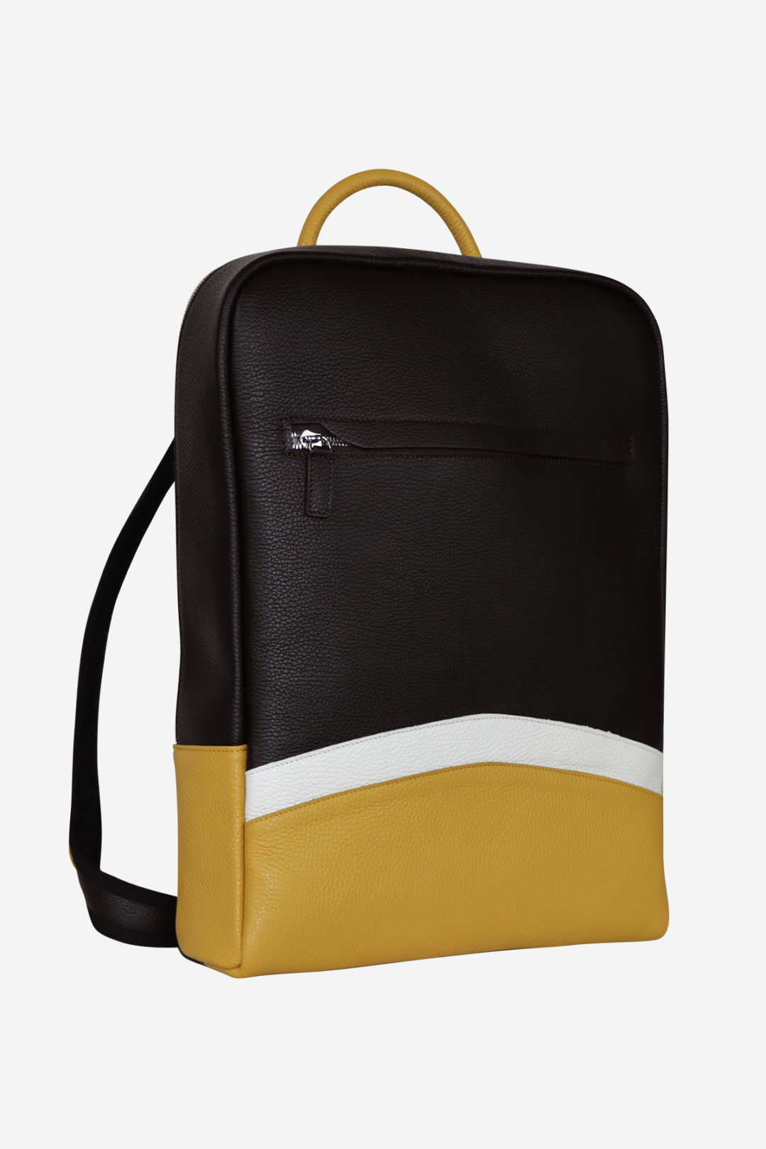 Sinuous Laptop Backpack yellow dark brown white waterproof leather