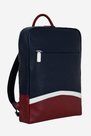 Sinuous Laptop Backpack front waterproof blue red white