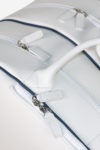 Wide Tennis Bag white waterproof leather handmade in italy detail handle