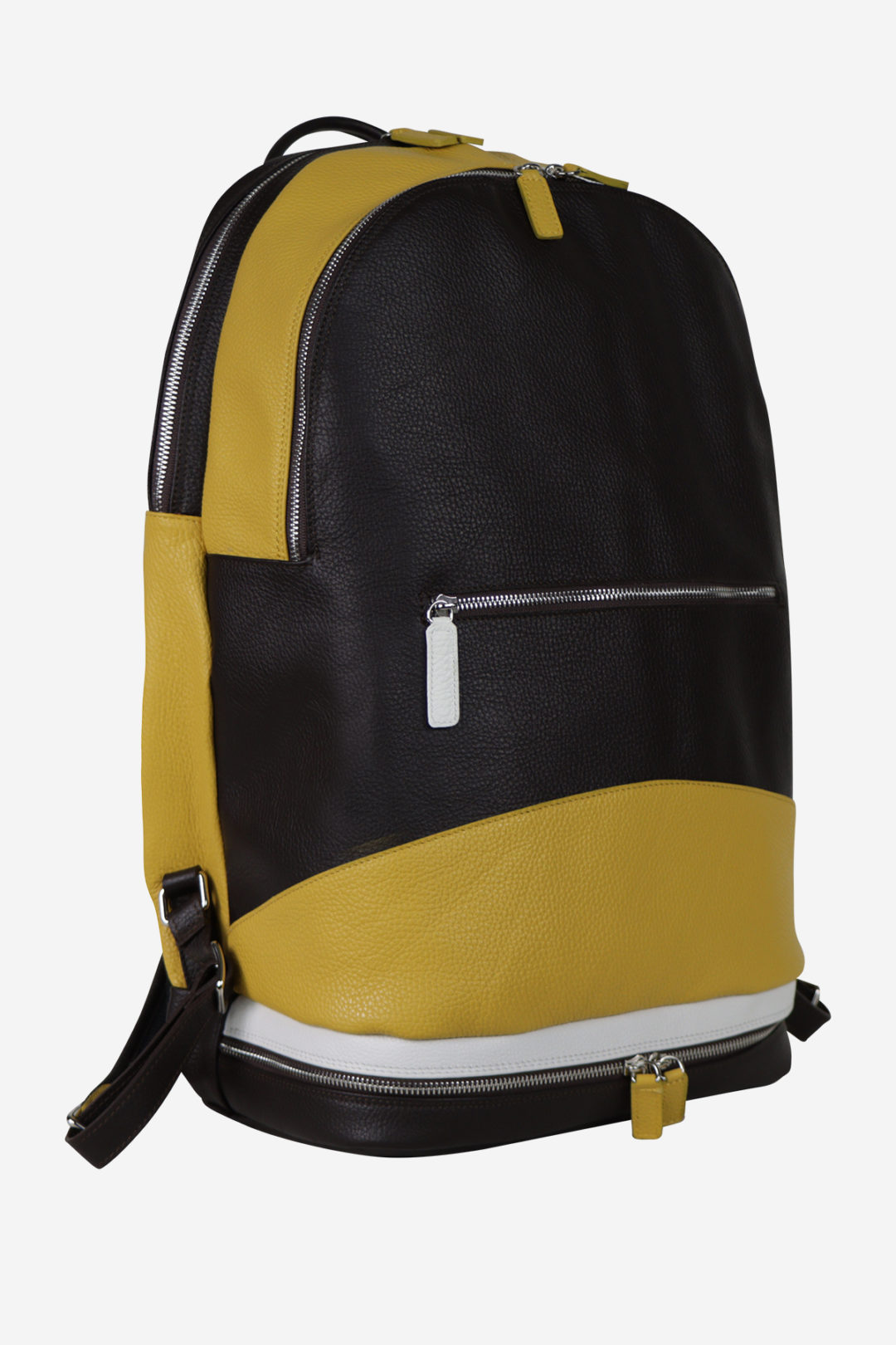 Sport Modern Backpack yellow darkbrown white leather backpack