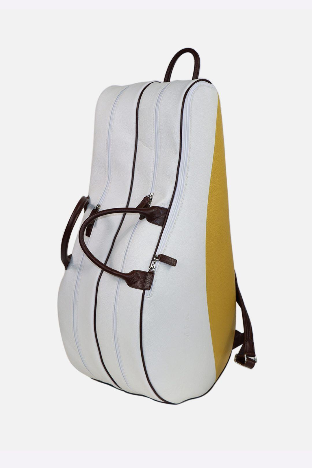 Classic Backpack Tennis Bag black leather waterproof handmade in italy